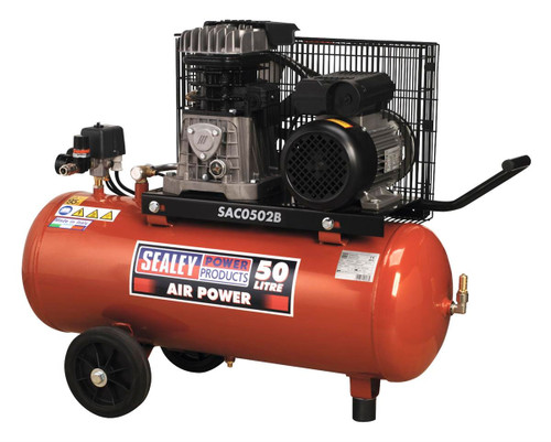 Buy Sealey SAC0502B Compressor 50ltr Belt Drive 2hp With Cast Cylinders & Wheels at Toolstop