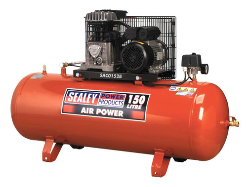 Buy Sealey SAC0152B Compressor 150L Belt Drive 2HP With Cast Cylinders at Toolstop
