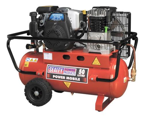Buy Sealey SA5040 Compressor 50ltr Belt Drive Petrol Engine 4hp at Toolstop
