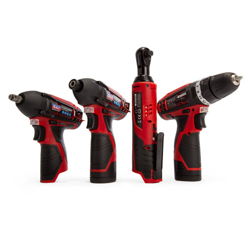 Sealey CP1200COMBO 12V 4 Piece Kit - CP1201 Hammer Drill/Driver, CP1202 Ratchet Wrench, CP1203 Impact Driver & CP1204 Impact Wrench (2 x 1.5Ah Batteries)