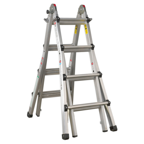Buy Sealey AFPL3 Aluminium Telescopic Ladder 4-way En 131 Adjustable Height for GBP174.68 at Toolstop