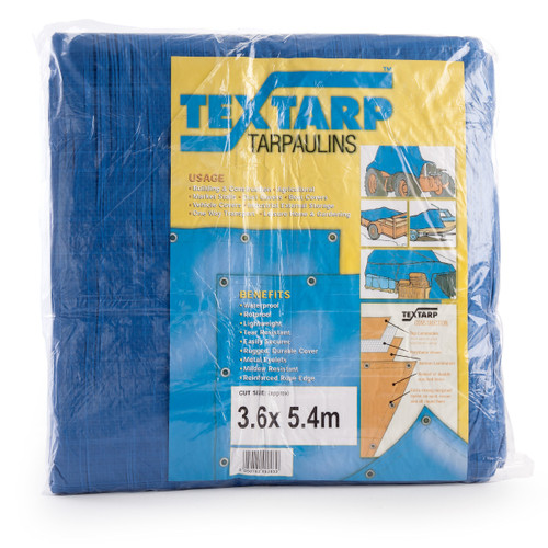Contractors Tarpaulin Blue/Green 3.6m x 5.4m 90gsm - 3