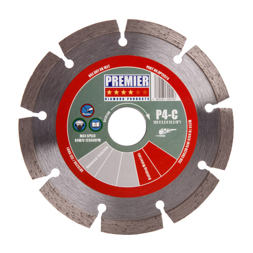 PDP DP15520 Diamond Blade for Concrete & Building Materials 125mm x 2.2mm x 22.2mm - 2