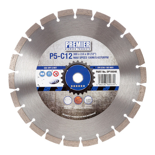 PDP DP16046 Diamond Blade P5-C12 5* General Purpose Building Material & Concrete 300mm x 20mm  - 2