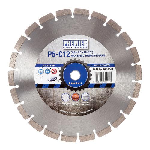 PDP DP16046 Diamond Blade P5-C12 5* General Purpose Building Material & Concrete 300mm x 20mm  - 2