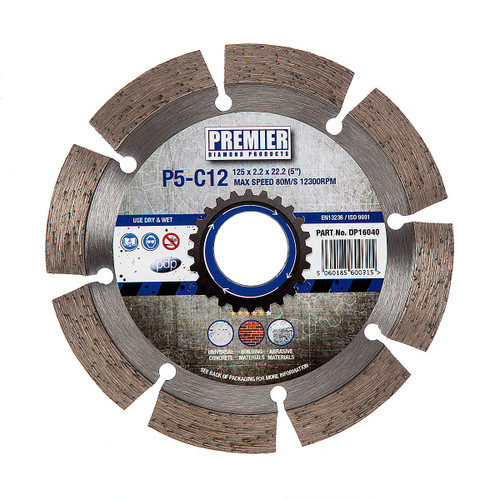 PDP DP16040 Diamond Blade P5-C12 5* General Purpose Building Material & Concrete 125mm x 22.2mm  - 2