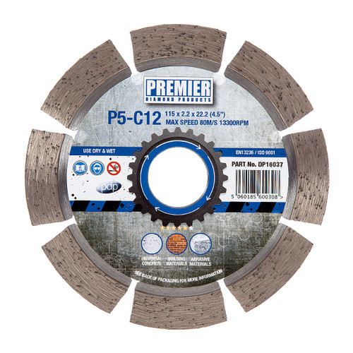 PDP DP16037 Diamond Blade P5-C12 5* General Purpose Building Material & Concrete 115mm x 22.2mm  - 2