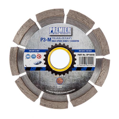 PDP DP15040 Diamond Blade P3-M 3* Mortar Raking 115mm x 22.2mm - 2