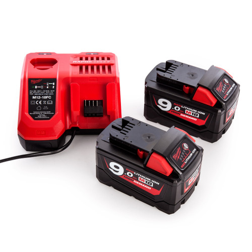 Milwaukee M18NRG-902 - 2 x 9.0Ah Batteries + Charger Pack - 4