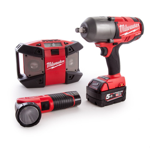 Milwaukee M18FPP3B-525B 12V & 18V Fuel Thunderbolt Kit - Impact Wrench, Radio, Torch (3 x 5Ah + 2 x 2Ah Batteries) - 6