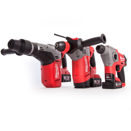 Milwaukee M18FPP3A-564B M12 + M18 Fuel SDS Hammer Thunderbolt Kit (3 x 5.0Ah + 1 x 6.0Ah Batteries) - 5