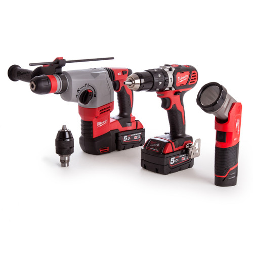 Milwaukee Triplepack - M18 BPD Combi Drill - HD18 HX SDS Hammer Drill - M12TLED Torch (2 x 5.0Ah + 1 x 1.5Ah Batteries) - 4