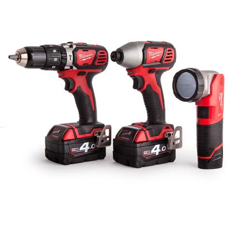 Milwaukee Triplepack - M18BPD Combi Drill - M18BID Impact Driver - M12TLED Torch (2 x 4.0Ah + 1 x 1.5Ah Batteries) - 5