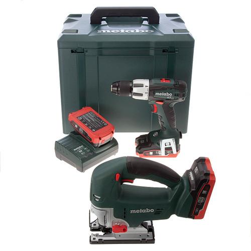 Metabo STA18LTX Jigsaw + SB18LT Combi Drill 18V Cordless Twinpack (3 x 3.1Ah LIHD Batteries) - 4