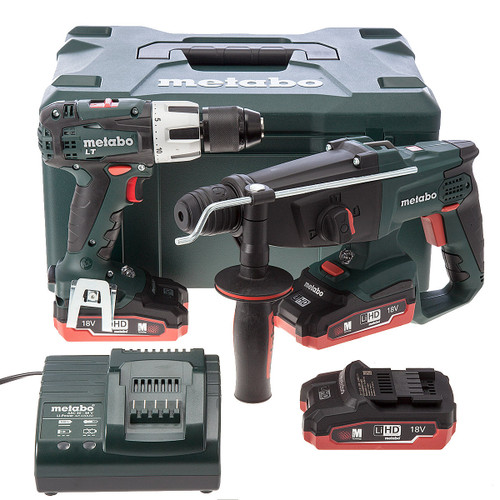 Metabo KHA18LTX SDS Hammer + SB18LT Combi Drill 18V Cordless Twinpack (3 x 3.1Ah LIHD Batteries) - 4