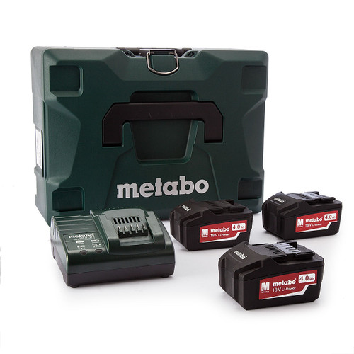 Metabo 6.85063.00 18V Cordless Starter Kit, 3 x 4.0Ah Batteries, ASC30 Charger, Inlay and Metaloc Case - 2