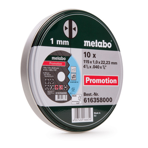 Metabo 616358000 Inox Cutting Discs in Tin 115 x 1 x 22.23mm (Pack Of 10) - 2