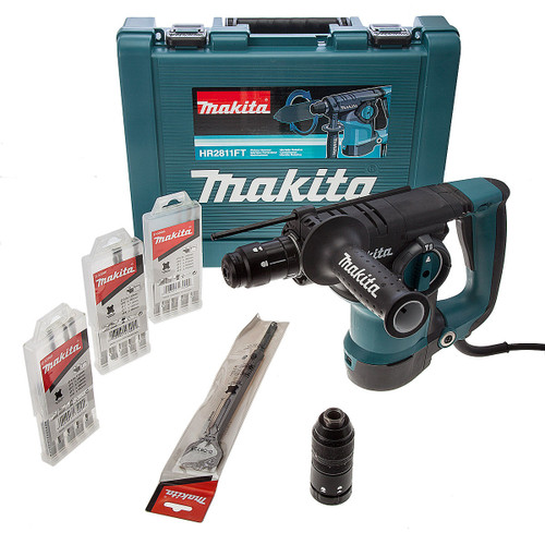 Makita HR2811FT-1 SDS+ Rotary Hammer Drill with Quick Change Chuck & 16 Accessories 240V - 3