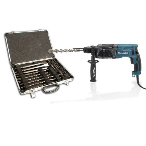 Buy Makita HR2470 SDS+ Rotary Hammer Drill + D21200 17 Piece SDS+ Drill & Chisel Set 110V at Toolstop