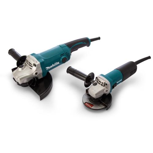 Makita DK0004 Angle Grinder Twinpack 240V - GA9050 230mm + 9554NB 115mm - 4