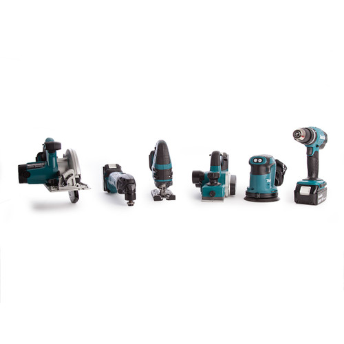 Makita 6 Piece Cordless Woodworking Kit 18V With Charger and Large Toolbag (3 x 3.0Ah Batteries) - 8