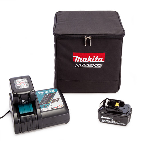 Makita PowerPack2 With 2 x 5.0Ah Batteries + Charger and Black Cube Bag - 4