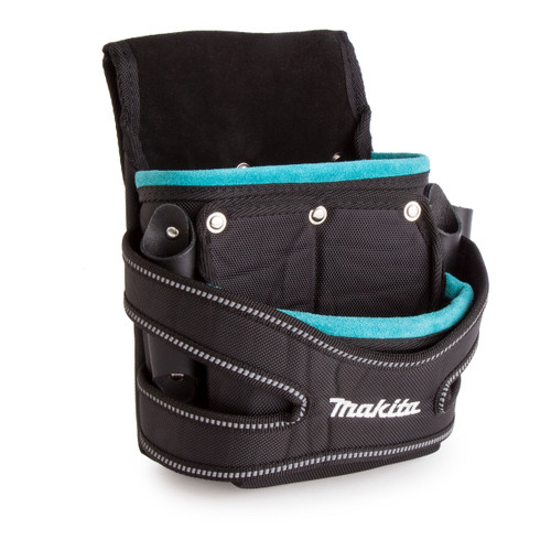 Makita P-71750 Leather / Nylon 2 Pocket Fixings Pouch Blue - 3