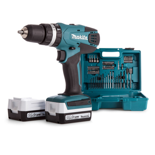 Makita HP347DWEX3 14.4V G-Series Combi Drill (2 x 1.3Ah Batteries) with 74 Piece Accessory Set - 4