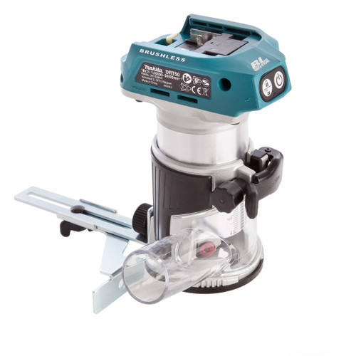 Buy Makita DRT50ZJ Router/Trimmer 18V Cordless Brushless (Body Only with Trimmer Base And Straight Guide) in Makpac Case at Toolstop