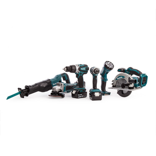 Makita DLX6072PT 18V 6 Piece Kit - DTD152 Impact Driver, DHP458 Combi Drill, DGA452 Angle Grinder, DJR186 Reciprocating Saw, DSS610 Circular Saw & DML185 Torch (3 x 5.0Ah Batteries) - 9