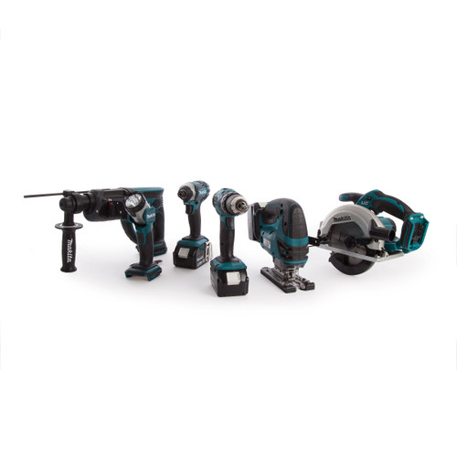 Makita DLX6068PT 18V 6 Piece Kit - DHP453 Combi Drill, DTD152 Impact Driver, DHR202 SDS+ Rotary Hammer, DJV180 Jigsaw, DSS611 Circular Saw & DML802 Flashlight (3 x 5.0Ah Batteries) with Twin Charger - 9