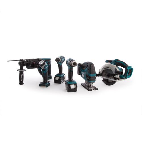 Makita DLX6068PT 18V 6 Piece Kit - DHP453 Combi Drill, DTD152 Impact Driver, DHR202 SDS+ Rotary Hammer, DJV180 Jigsaw, DSS611 Circular Saw & DML802 Flashlight (3 x 5.0Ah Batteries) with Twin Charger - 9