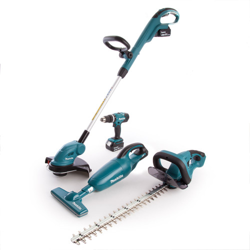 Makita DLX4093 4 Piece 18V Kit, Hedge+Line Trimmer, Combi+Vacuum (2 x 3.0Ah Batts) - 6