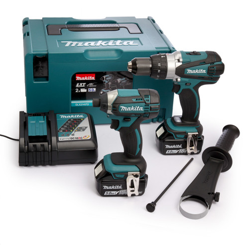 Buy Makita DLX2145TJ 18V LXT Twin Pack - DHP458 Combi Drill + DTD152 Impact Driver (2 x 5.0Ah Batteries) at Toolstop