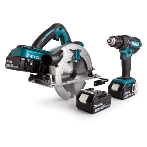 Makita DLX2140PMJ 18/36V Twin Pack - DHS710 36V Circular Saw + DHP482 18V Combi Drill (4 x 4.0Ah Batteries) - 6