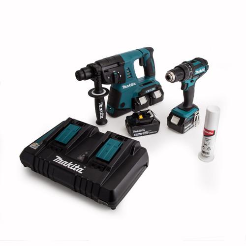 Makita DLX2137PMJ 18/36V Twin Pack - DHP482 18V Combi Drill + DHR263 36V SDS+ Rotary Hammer (4 x 4.0Ah Batteries) - 4