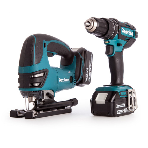 Makita DLX2134MJ 18V Twin Pack - DHP482 Combi Drill + DJV180 Jigsaw (2 x 4.0Ah Batteries) with MakPac Case - 5