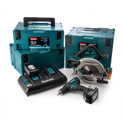 Makita DLX2084PMJ 18V Twin Pack - DHP456 Combi Drill + DHS710 Circular Saw (4 x 4.0Ah Batteries) with 3 x Makpac Cases - 5