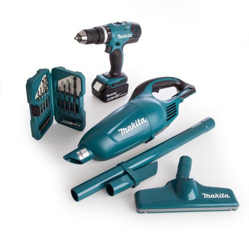 Makita DLX2056SX1 18V Kit - DHP453 Combi Drill, DCL180 Vacuum and Bitset (1 x 3.0Ah Battery) - 7