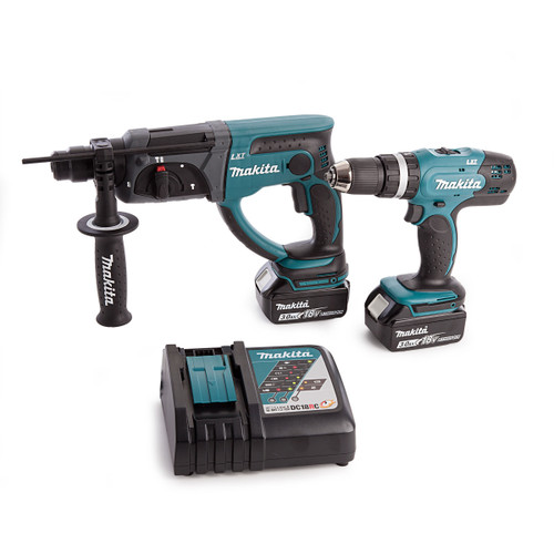 Makita DLX2025M 18V Twin Pack - DHP453 Combi Drill + DHR202 Rotary Hammer (2 x 3.0Ah Batteries) - 4