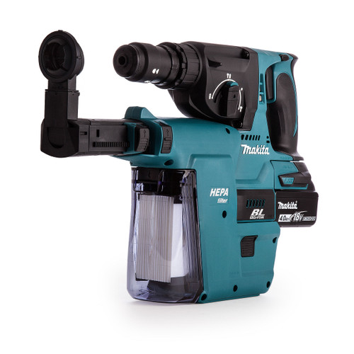 Makita DHR243RMJV 18V Brushless 3-Mode SDS Plus Rotary Hammer 24mm with Quick Change Chuck & DX02 Dust Extraction System - 4