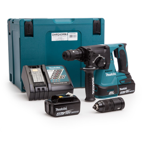 Buy Makita DHR243RMJ 18V Brushless 3-Mode SDS Plus Rotary Hammer Drill 24mm with Quick Change Chuck (2 x 4.0Ah Batteries) at Toolstop