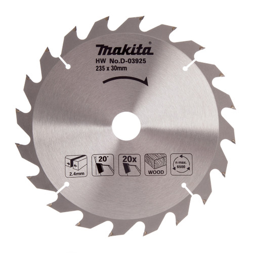 Makita D-03925 Circular Saw Blade for Wood 235mm x 30mm x 20T - 2