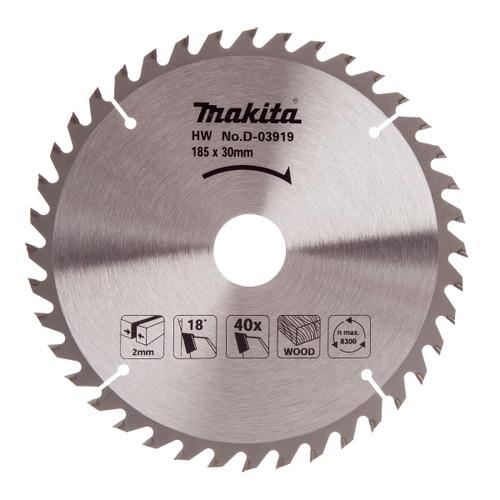 Makita D-03919 Circular Saw Blade for Wood 185mm x 30mm x 40T - 2