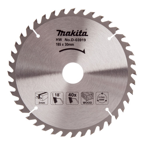 Makita D-03919 Circular Saw Blade for Wood 185mm x 30mm x 40T - 2