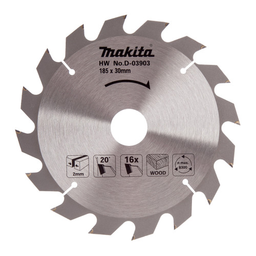 Makita D-03903 Circular Saw Blade for Wood 185mm x 30mm x 16T - 2