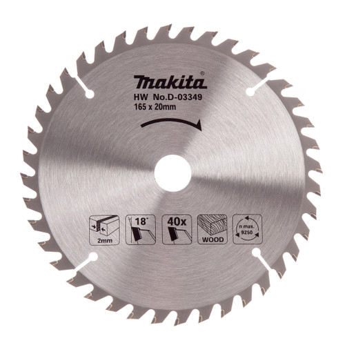 Makita D-03349 Circular Saw Blade for Wood 165mm x 20mm x 40T - 2