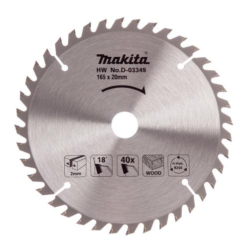 Makita D-03349 Circular Saw Blade for Wood 165mm x 20mm x 40T - 2