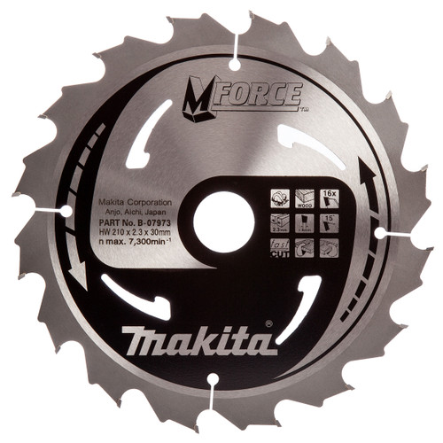 Makita B-07973 M Force Circular Saw Blade 210 x 30mm x 16T - 2