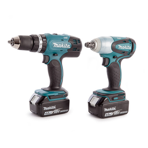 Makita DHP453 Combi Drill, DTW251 Impact Wrench, Charger and Medium Toolbag (2 x 4.0Ah Batteries) - 4